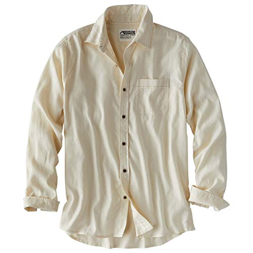 Mountain Khakis Mens Humidor Long Sleeve Shirt: Outdoor Casual Button-Down, Cream, Large
