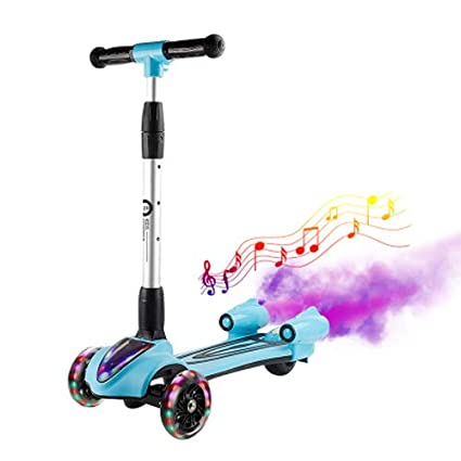Pinjeer 4 Colores Opcional Scooter para niños 3 Ruedas Yo Flash del Coche con música Spray