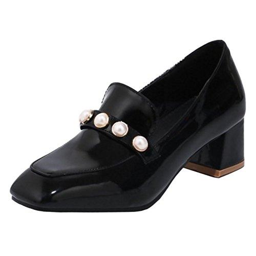 JOJONUNU Black Chaussures Talons Femmes Bureau Bas a0qraw1