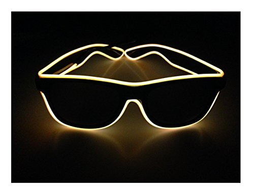 Yellow Square El wire glasses N Light up glasses Perfect for your Halloween Party Christmas Music Festival Rave Parties Gifts, Fashion , Limited Collection A Night Out! Slow Blinking Fast (Halloween Rave)