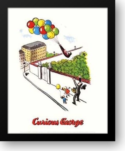 (Curious George (Balloons) 20x24 Framed Art Print)