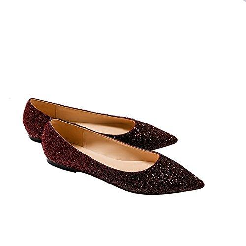 Zapatos De Burgun Lentejuelas Zapatos Nupciales Personalizados De Planos Boda De Boda De Con Zapatos Partidos Boda Los Moda De Zapatos Planos De De Banquete Femeninas Todos WENJUN Cristal Color De v5qCZw