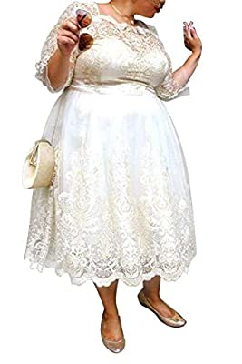 Dreamdress Women's Lace Short Plus Size Wedding Dresses Bridal Ball Gowns