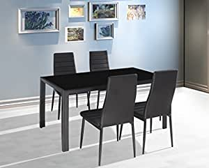 EBS 5 Piece Home Kitchen Dining Room Metal Furniture Set with Glass Top Table + 4 Chairs Metal Leg & Frame - Dark Black Finish