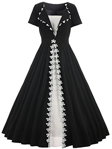 Donne Vestiti Vintage anni '50 Abito da Sera a Maniche Corte Elegante  Vestito con Risvolto