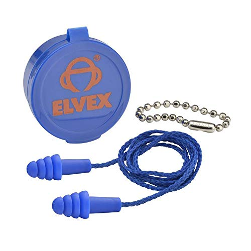 (Elvex Quattro Reusable Corded Ear Plugs with Plastic Case and Chain - EP-412)