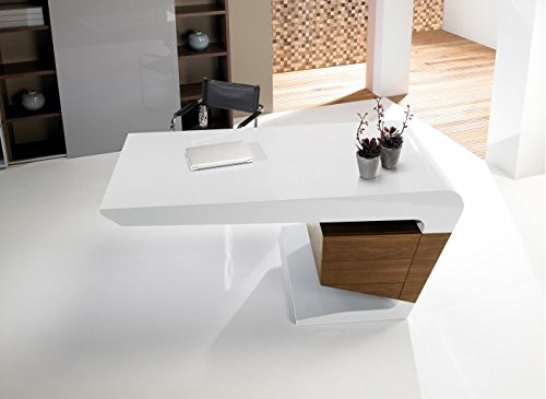 Tendancemeubles bureau design blanc noyer cm ue amazon