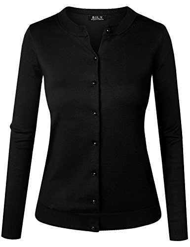 BH B.I.L.Y USA Women's Unique Button Long Sleeve Soft Knit Cardigan Sweater Black X-Large