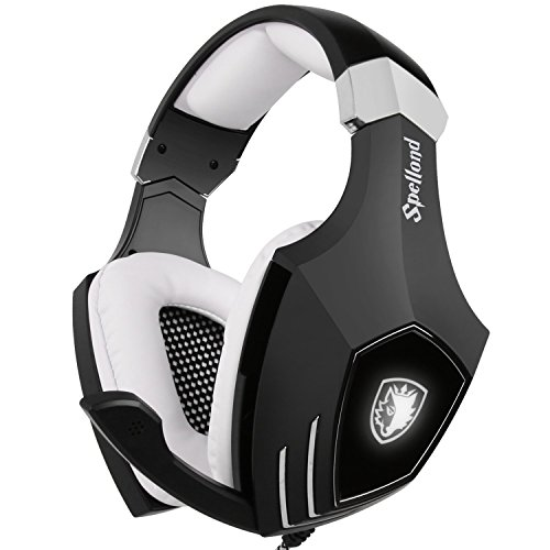 USB Gaming Headset-SADES A60/OMG Computer Over Ear Stereo Heaphones With Microphone Noise Isolating Volume Control LED Light (Black+White) For PC & MAC Earcup Headphones Speakers