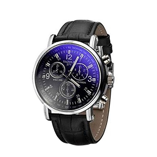 Loweryeah Fashion Strap Blu-Ray Watch Men Business Watch (Black + Black)