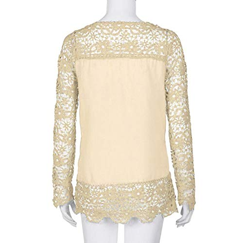 Women Plus Size Hollow Out Lace Splice Long Sleeve Shirt Casual Blouse Loose Top(Beige,Medium) by iQKA (Image #4)