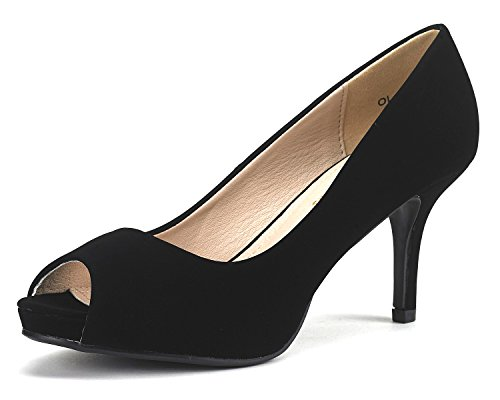 DREAM PAIRS OL Women's Elegant Open Toe Classic Low Heel Wedding Party Platform Pumps Shoes BLACK NUBUCK SIZE 7.5
