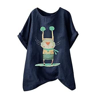 Qimani - Camiseta para Mujer de Verano con Estampado de Rayas de ...