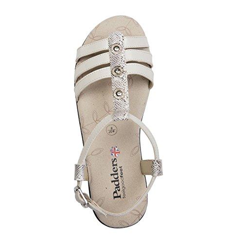 Anchura Las De 25mm Sandalia Cuero Cuerno Mujeres Romana 'perla' Libre E Talón Zapato Padders Buff Combi Estilo t8pq5wtn