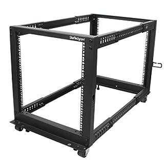 StarTech.com 12U Open Frame Server Rack - Adjustable Depth - 4-Post Data Rack - w/ Casters/Levelers/Cable Management Hooks (4POSTRACK12U) (B00P1RJ9LS)   Amazon Products
