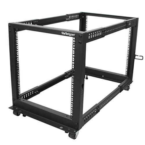 StarTech.com 12U Open Frame Server Rack - Adjustable Depth - 4-Post Data Rack - w/ Casters/Levelers/Cable Management Hooks (4POSTRACK12U) (Rack Server Computer)