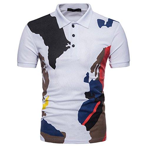 YJYDADA Fashion Mens Buttons Design Camouflage Short Sleeve Slim Fit Casual T Shirt (White, S) from YJYDADA
