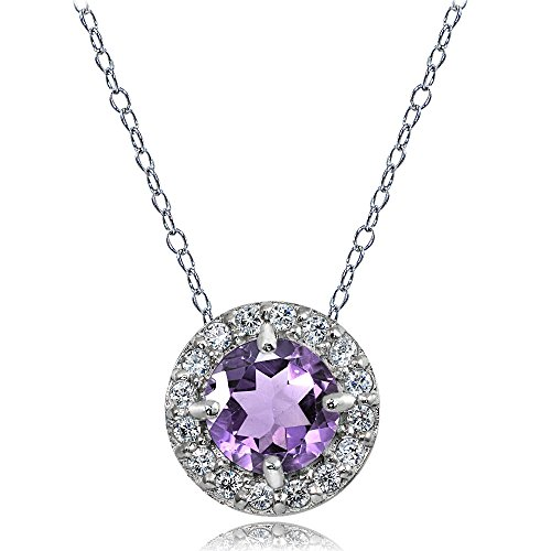 Sterling Silver Amethyst and White Topaz Round Halo Necklace