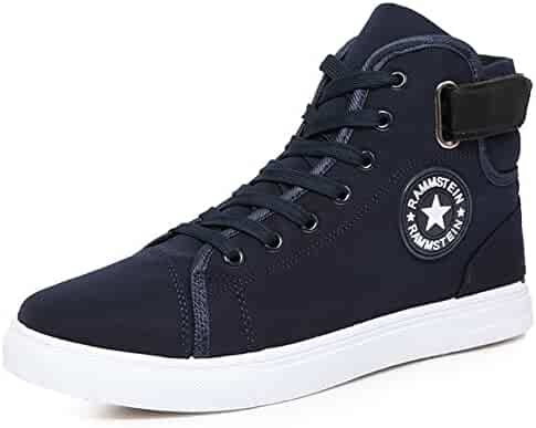PP FASHION Man s Flat Heel Casual Canvas Shoes Fashion High Top Lace Up  Sneakers 18a520b8a