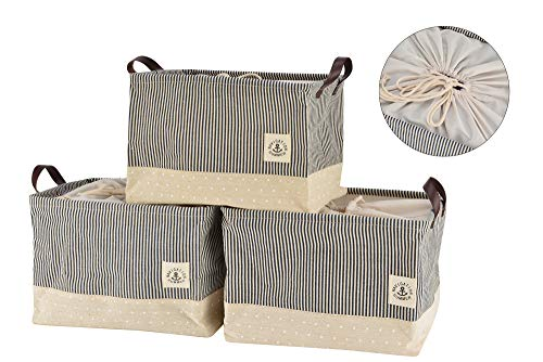 (Perber Collapsible Storage Basket Bins [3-Pack], Foldable Canvas Fabric Storage Cubes Box Containers with Handles- 15inch Large Organizer for Nursery Toys,Kids Room,Towels,Clothes, Navy Blue)