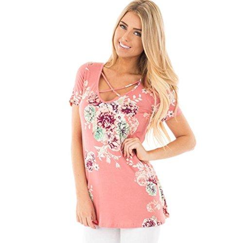 Winwintom Estampado floral de manga corta de las mujeres Entrecruzado blusa tops frente cuello V