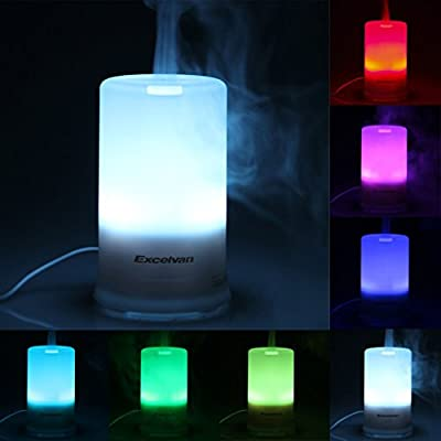 Excelvan 100ml Aromatherapy Essential Oil Purifier Diffuser Air Humidifier with 4 Timer Settings & 7 Colors Changing Light (100ml)