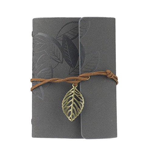 Vintage Leaf Leather Cover Loose Leaf Blank Journal Diary (Grey) - 2