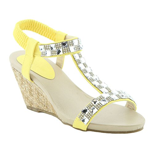 BELLAMARIE JENIFER-2 Women Rhinestone T-Strap Elastic Strap Slip On Wedge Sandal, Color:YELLOW, Size:7