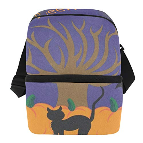 Lunch Bag Halloween Tree Pumpkins Cat Portable Cooler Bag Adult Leakproof Food Storage Zipper Tote Bags for Biking -