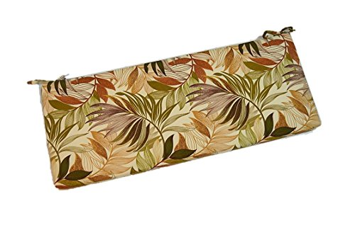 Tan, Brown, Green, Tropical Palm Leaf Indoor / Outdoor 2'' Thick Foam Swing / Bench / Glider Cushion with Ties and Zipper - Choose Size (36'' x 14'') by Resort Spa Home Decor