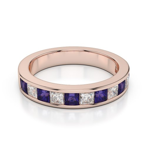 Or Rose 18 carats 1 CT G-H/VS Certifié Coupe ronde tanzanite et diamants Agdr-1137