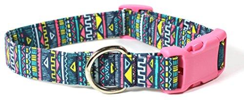 Maya Stripe Girls Pink - Ruff Roxy Mini Maya, Blue and Multi Aztec Stripes, Designer Cotton Dog Collar, Adjustable Handmade Fabric Collars (M, Pink)