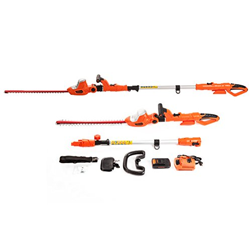 (NBCYHTS 20V Li-ion Cordless 2 in 1 Telescopic Pole and Portable Hedge Trimmer, 20