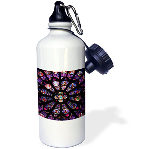 3dRose wb_188736_1''France, Paris Stained glass windows of Notre-Dame Cathedral'' Sports Water Bottle, 21 oz, Multicolor by 3dRose