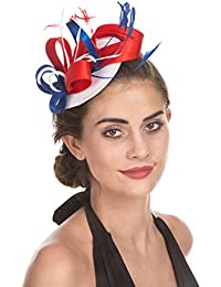 0bcc9c834e3 Fascinator Hat Feather Mesh Net Veil Party Hat Flower Derby Hat with Clip  and Hairband for