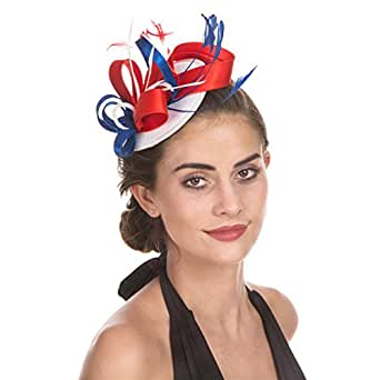 SAFERIN Fascinator Hat Feather Mesh Net Veil Party Hat Flower Derby Hat with Clip and Hairband for Women (Flag-Navy Feather)
