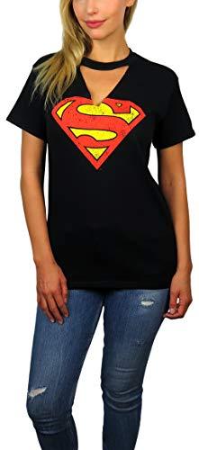 DC Comics Superman Distressed Logo Gigi Choker Neck Tee (Black, -