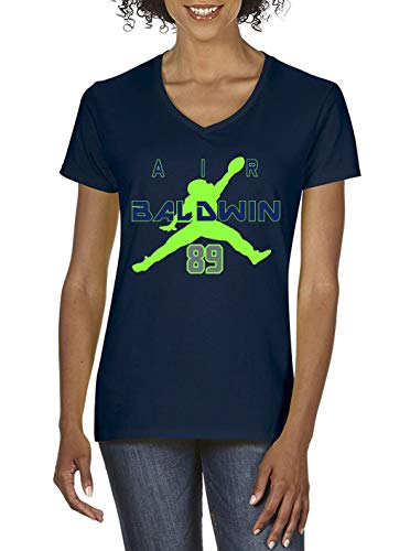 (Navy Seattle Baldwin Air Ladies V-Neck T-Shirt Adult)