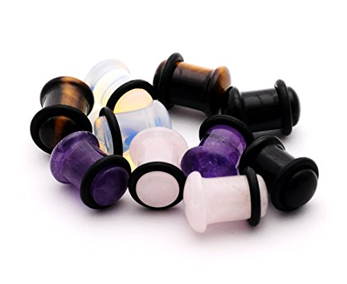 (Set of 5 Pairs Single Flare Stone Plugs - Amethyst, Black Agate, Opalite, Tiger Eye, Rose Quartz (00g)