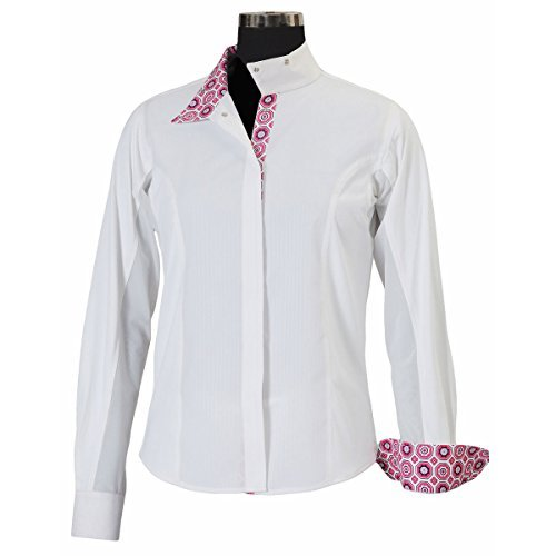 Equine Couture Girl's Kelsey Long Sleeve Show Shirt, White/Pink, 10