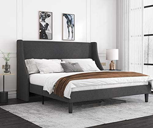 Allewie King Size Platform Bed Frame with Deluxe Wingback/Upholstered Bed Frame with Headboard/Wood Slat Support/Mattress Foundation/Dark Grey(King)