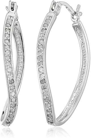 Sterling Silver Diamond Hoop Earrings (1/4cttw, J-K Color, I3 Clarity)