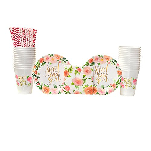 Floral Baby Party Supplies Pack for 16 Guests: Straws, Dessert Plates, Beverage Napkins, and Cups