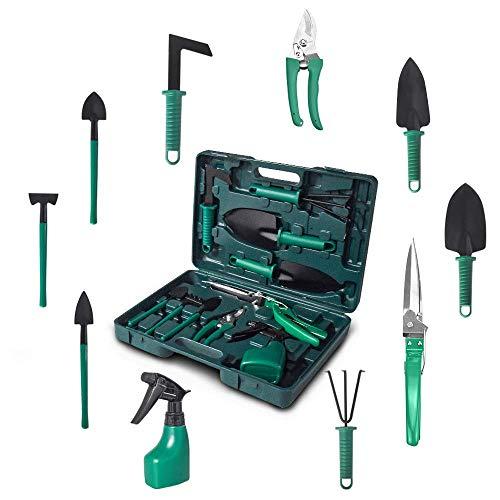 Kiaitre Gardening Tools Set – Portable 10 Pieces Garden Tool Sets, Gardening Gifts for Women Men Kids