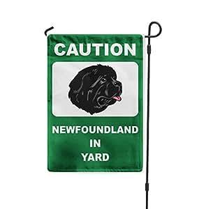 Precaución Terranova perro en patio Patio Patio Casa Banner bandera de Jardín hierro juego