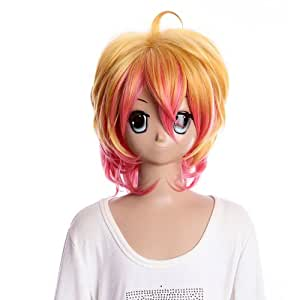 SureWells Costume half wig golden and pink short wig of uta no prince-sama cosplay wig for party