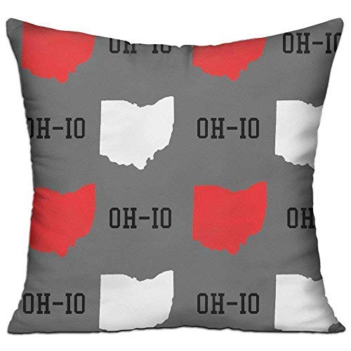 imouSde New Oh-Io State Map Gray Throw Pillow Covers 18 X 18 Decorative Couch Sofa Pillow Covers for Farmhouse Decor