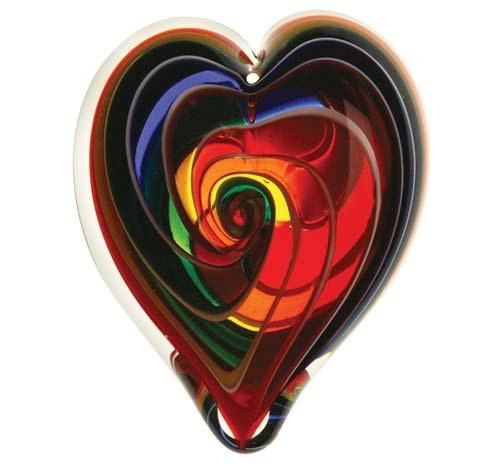 Glass Eye Studio Hand Blown Hearts of Fire Bohemian Glass Paperweight (Dichroic Unique Glass)