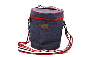 Round Sports Ice Bucket Cooler bag with Striped Shoulder Strap
