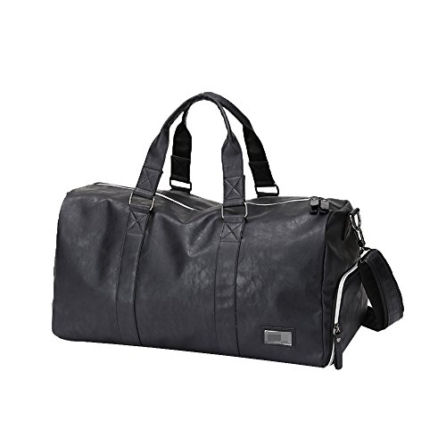 Leather Messenger Black Trips Large Travel Shoulders Short Men's Fitness Business Capacity Tote Bags qnx6tF1w1P